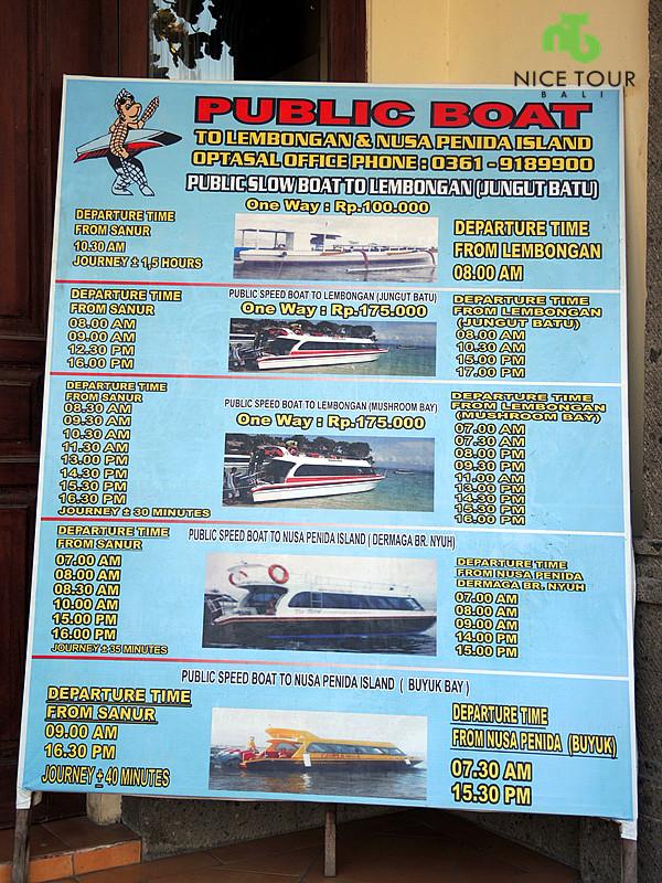 sanur boat timetable to nusa lembongan