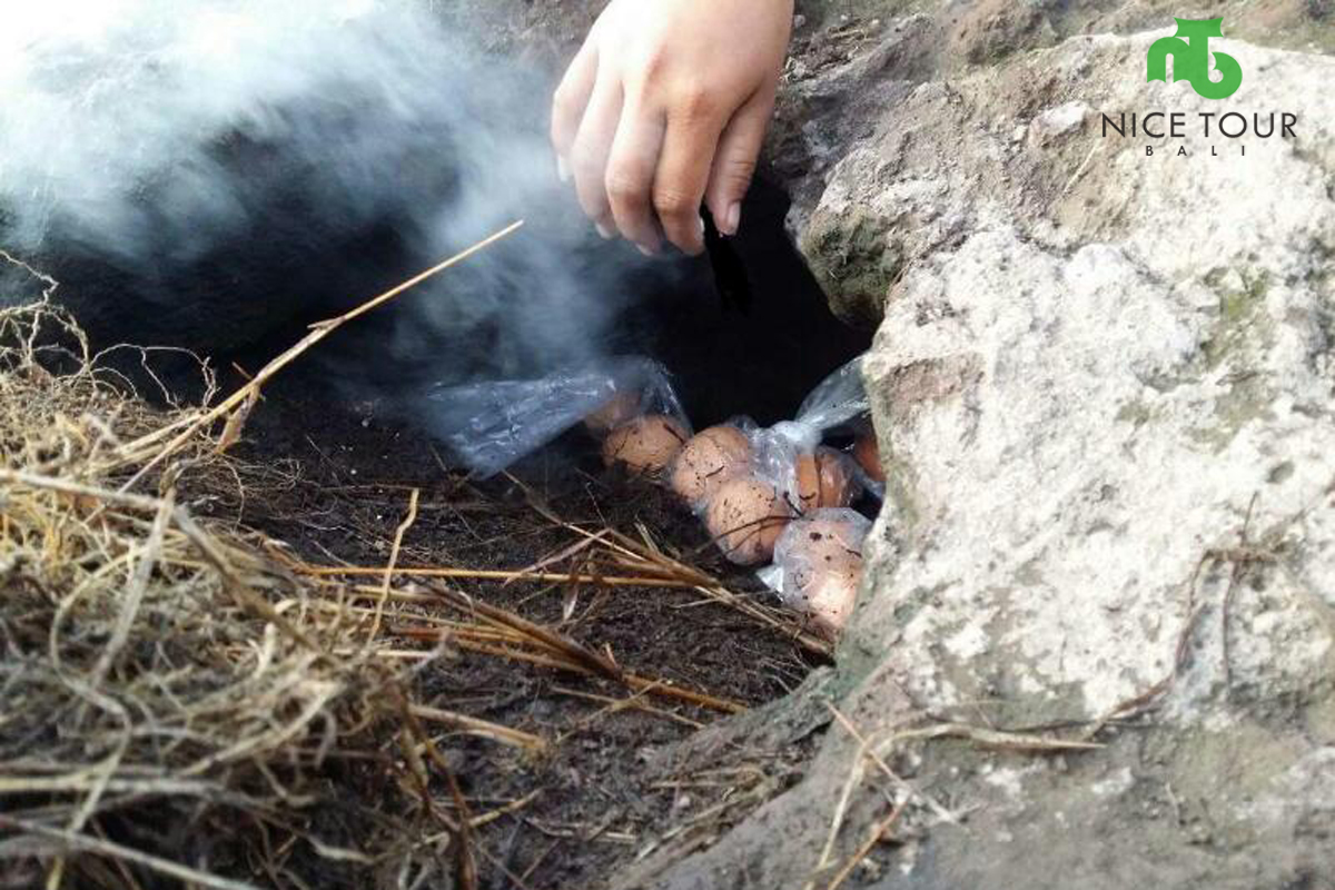 Egg steam on the top of Mount Batur