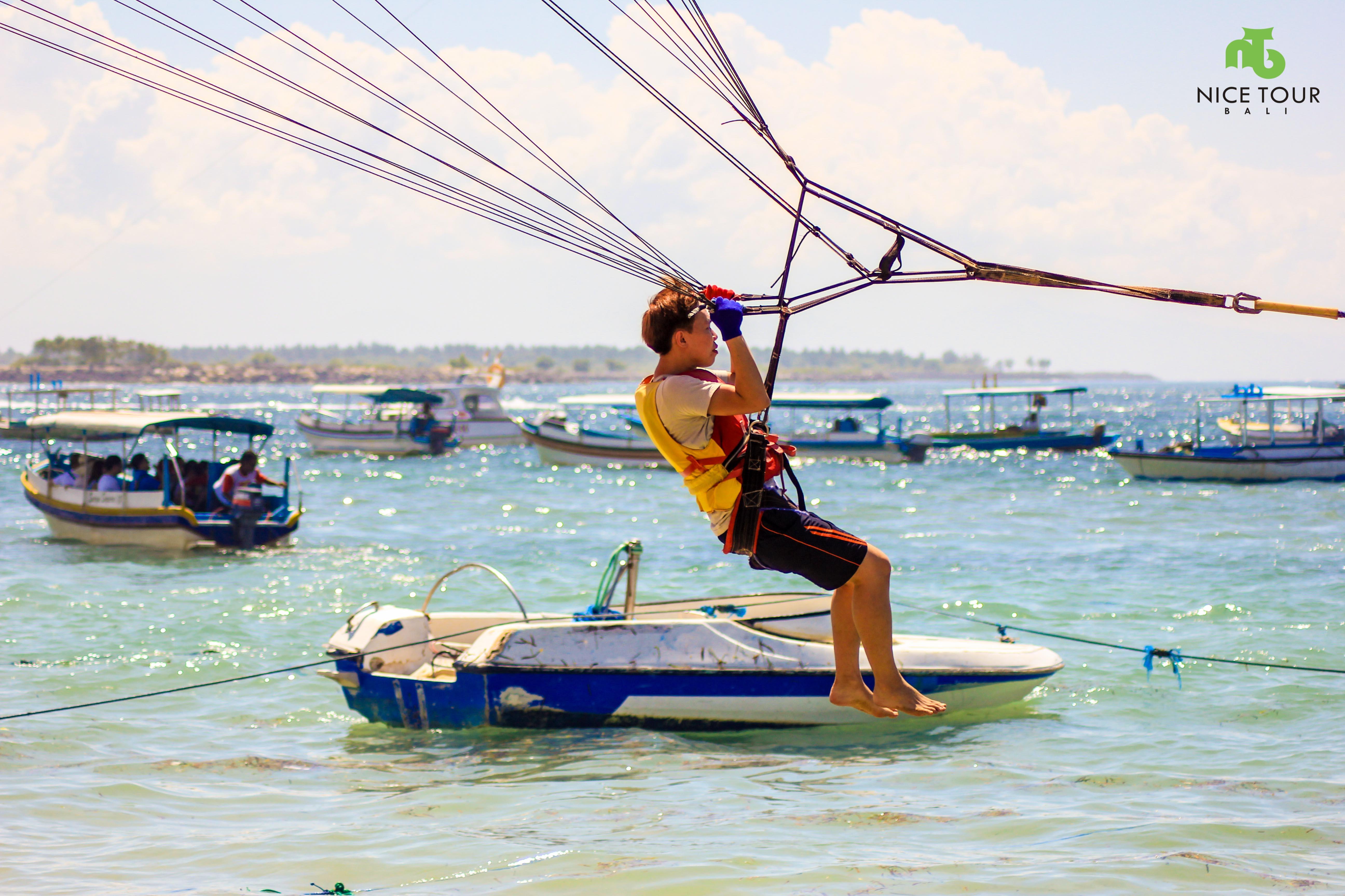 Parasailing water sports at Bali